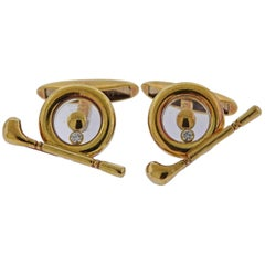 Chopard Happy Diamonds Gold Golf Spinner Cufflinks
