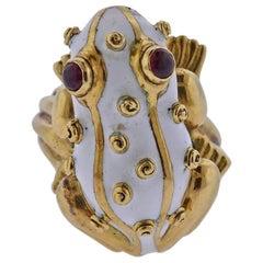 David Webb Ruby Enamel Gold Frog Ring