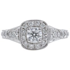 Vera Wang Diamond Engagement Ring Love Collection Round 1.25 Carat 14 Karat Gold