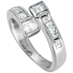 Diamond Invisible Setting White Gold Bypass Ring