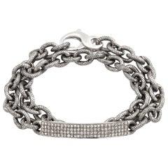 Four-Row Diamond Curved Bar Double Wrap Bracelet