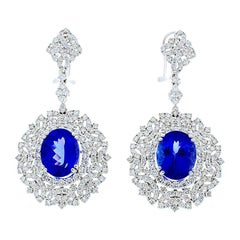 8.70 Carat Total Oval Tanzanite and Diamond Earrings in 18 Karat White Gold
