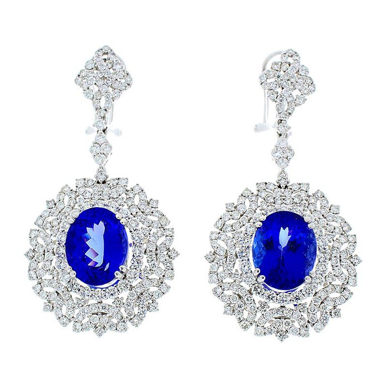 8.70 Carat Total Oval Tanzanite and Diamond Earrings in 18 Karat White Gold For Sale