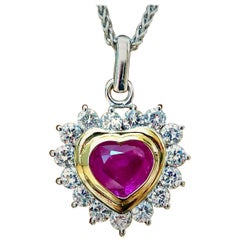 3.50 Carat Natural Burma Ruby Diamonds Heart Pendant 18 Karat