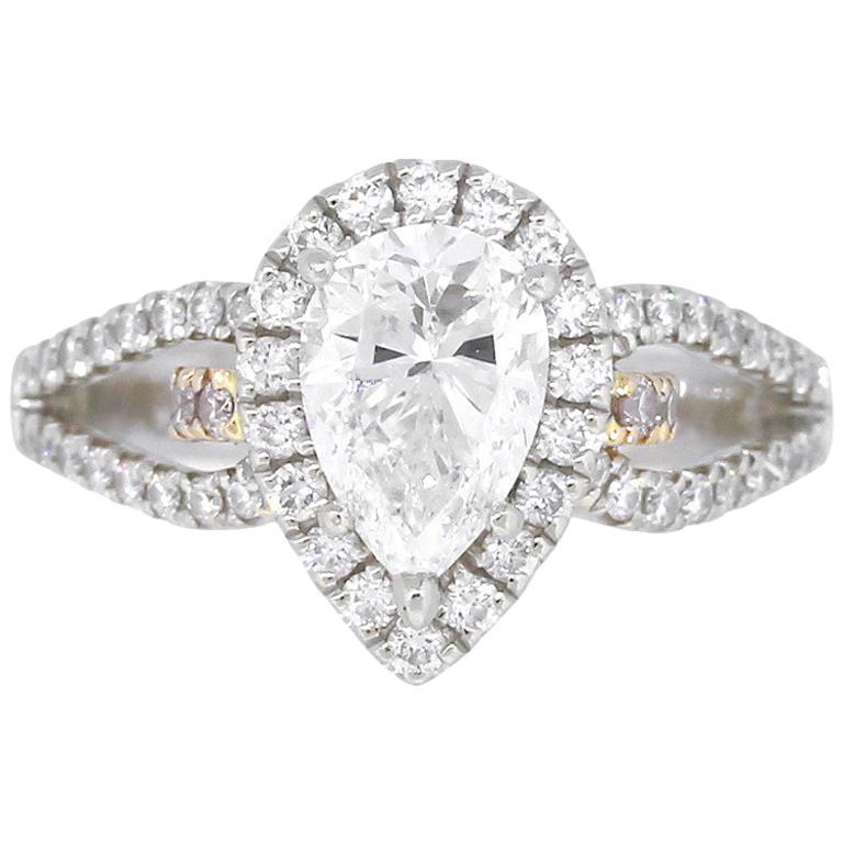 Simon G Pear Shape GIA Diamond Engagement Ring