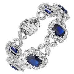 Bayco AGL Certified 56.07 Carat, Burma Sapphire Diamond Platinum Bracelet