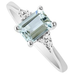 0.90 Carat Natural Emerald Cut Aquamarine Ring Solid White Gold with 6 Diamonds
