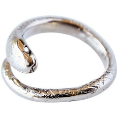 White Diamond Gold Snake Ring Cocktail Ring Adjustable J Dauphin