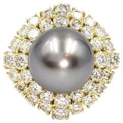 18 Karat Diamond and Tahitian Pearl Cocktail Ring