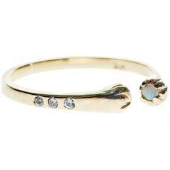 White Diamond Opal Gold Ring Adjustable J Dauphin