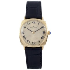 Baume and Mercier 18 Karat Gold Cushion Men's Watch with Black Leather Band