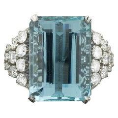 Aquamarine and Diamond Platinum Ring 20.00 Carat