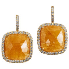13.58 Carat Cushion Cut Yellow Sapphire Slice Diamond Gold Earrings