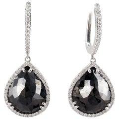 20.25 Carat Total Pear Shaped Black Diamond Dangle Earrings in 14 Karat Gold