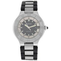 Authentic Men's Cartier Autoscaph Stainless Steel Date Automatic Watch