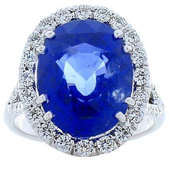 10.03 Carat Oval Blue Sapphire and Diamond Cocktail Ring in 18 Karat White Gold