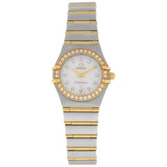 Lades Omega Constellation Full Bar 18K Gold 22MM MOP Dial Diamond Watch