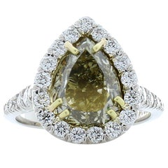 GIA Certified Pear Shaped Fancy Dark Greenish Yellow Diamond Cocktail Ring