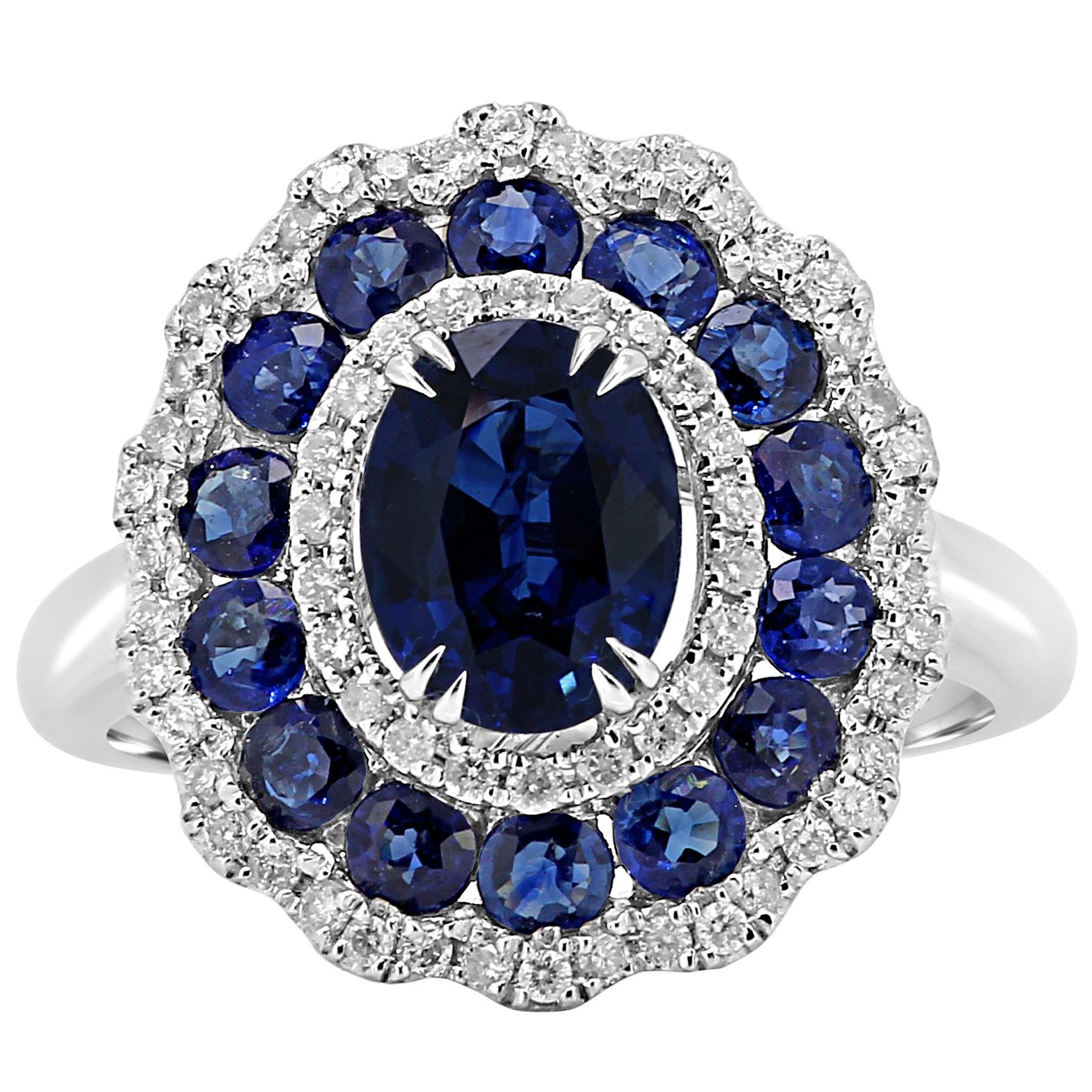 Blue Sapphire Oval Diamond Round Triple Halo Gold Fashion Cocktail Bridal Ring
