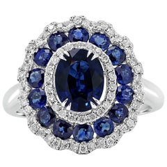 Blue Sapphire Oval Diamond Round Triple Halo Gold Fashion Cocktail Bridal Ring