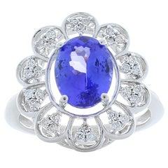 2.42 Carat Oval Tanzanite and Diamond Cocktail Ring in 14 Karat White Gold