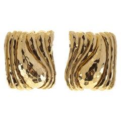 Henry Dunay 18 Karat Hammered Square Earrings
