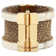 Cuff Bracelet Gold Bespoke Emerald Leopard Ruby Wood