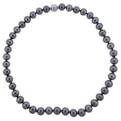 Mikimoto Tahitian Pearl Diamond Gold Necklace