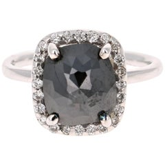 3.42 Carat Black and White Diamond Cocktail Ring 14 Karat White Gold