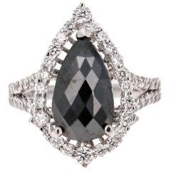 4.88 Carat Black Diamond 14 Karat White Gold Engagement Ring