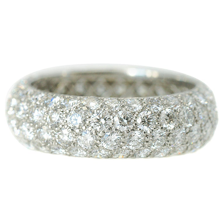5488d6b26 Tiffany and Co. 3 Carat Diamond Platinum Etoile 4-Row Band Ring For ...