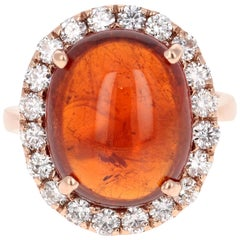 15.14 Carat Cabochon Spessartine Diamond Ring 14 Karat Rose Gold