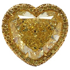 Scarselli 12 Carat Fancy Intense Yellow Heart Shape Diamond VS1 Ring GIA