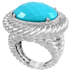 Oval Turquoise and Diamond Ring 14 Karat White Gold Twisted Ropes Style Cocktail