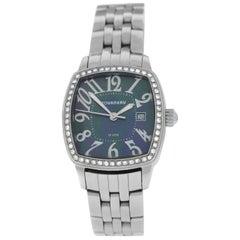 Authentic Ladies Tourneau Quartz Steel Mother of Pearl Diamonds Watch