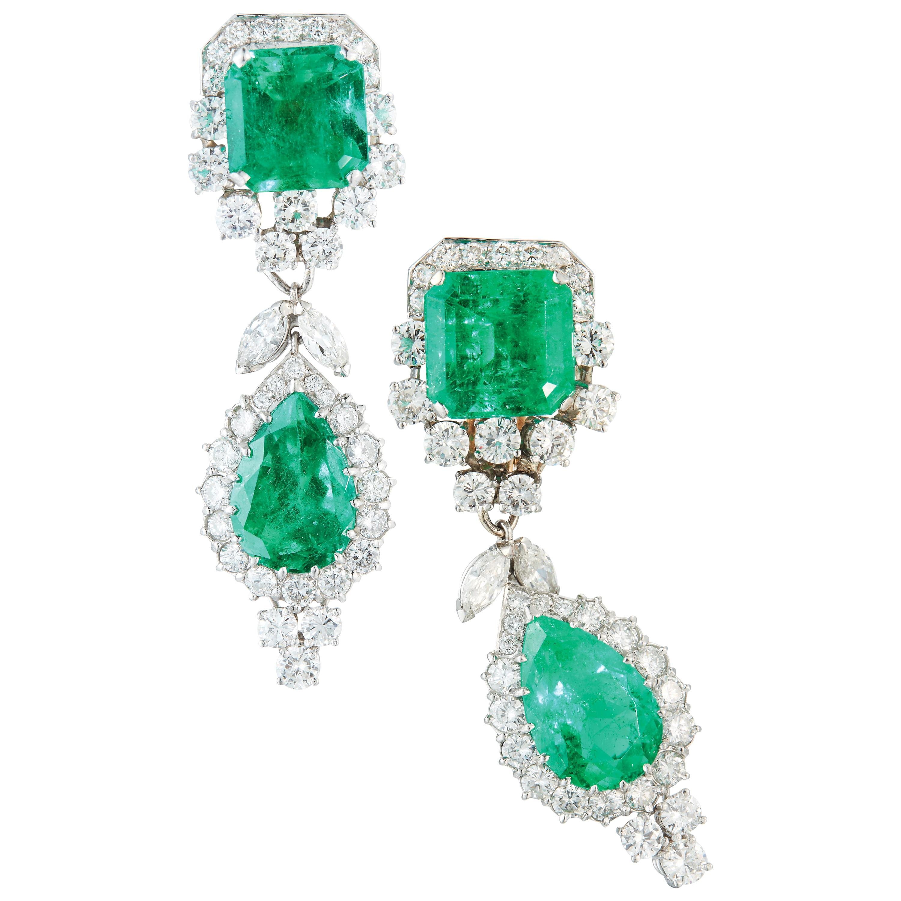 Important Emerald and Diamond Earrings