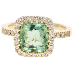 3.21 Carat Green Tourmaline Diamond Ring 18 Karat Yellow Gold Engagement Ring