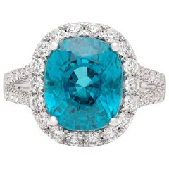 Stunning Blue Zircon and Diamond Ring