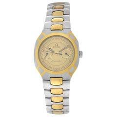 Men's Unisex Omega Seamaster Polaris Day Date Gold Quartz Watch