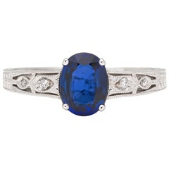 Sapphire, Diamond and White Gold Ring