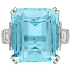 Impressive Aquamarine and Diamond Ring