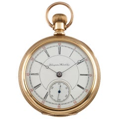Hampden Dueber 14 Karat Yellow Gold Antique Open Face Pocket Watch 17 Jewel