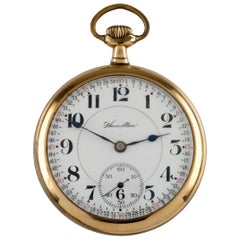 Hamilton Yellow Gold Filled Antique Pocket Watch Gr 992 21 Jewels, 1913