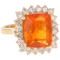 4.91 Carat Fire Opal Diamond 14 Karat Yellow Gold Ring