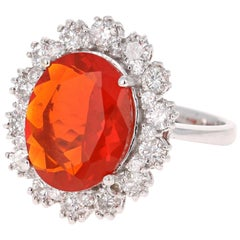 4.53 Carat Fire Opal Diamond 14 Karat White Gold Ring