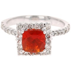 1.78 Carat Fire Opal Diamond Cocktail White Gold Ring
