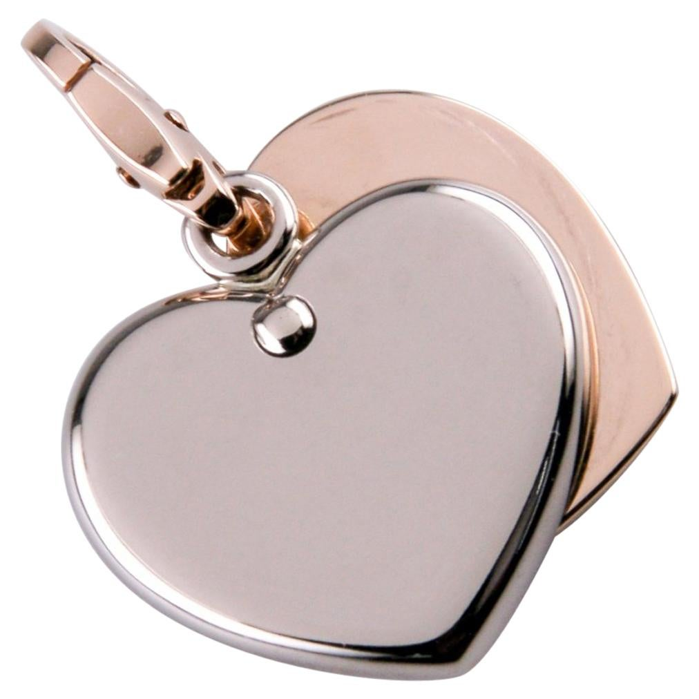 Cartier 18 Karat White and Rose Gold Double Heart Charm Pendant