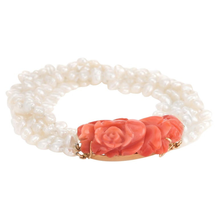 Vintage Carved Coral Bracelet 4 Strand Freshwater Pearls 14 Karat Gold Estate For Sale