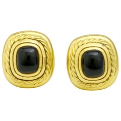 David Yurman 18 Karat Yellow Gold Black Onyx Albion Stud Earrings