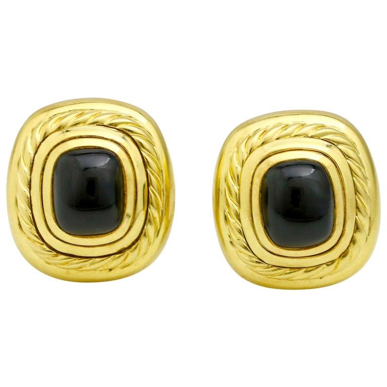 David Yurman 18 Karat Yellow Gold Black Onyx Albion Stud Earrings For Sale